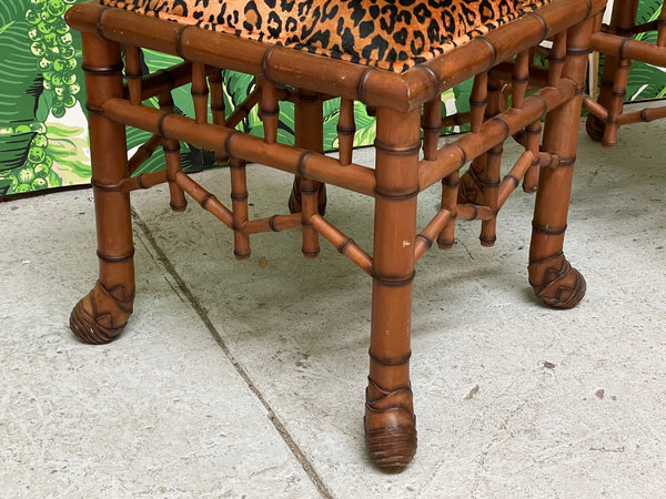 Faux Bamboo Pavilion Style Leopard Print Footstools, a Pair side view