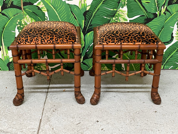 Faux Bamboo Pavilion Style Leopard Print Footstools, a Pair front view
