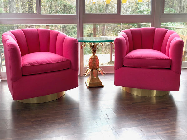 Pair of Channel Tufted Swivel Club Chairs in the Manner of Milo Baughman front view