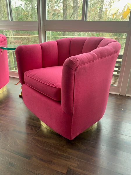 Pair of Channel Tufted Swivel Club Chairs in the Manner of Milo Baughman side view