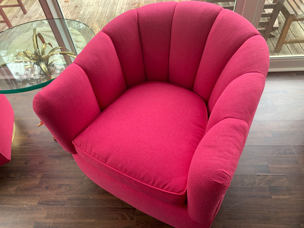 Pair of Channel Tufted Swivel Club Chairs in the Manner of Milo Baughman top view