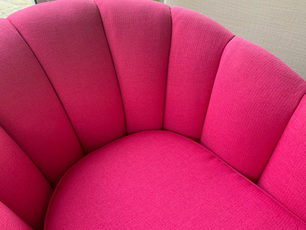 Pair of Channel Tufted Swivel Club Chairs in the Manner of Milo Baughman close up