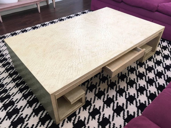 Greek Key Crackle Lacquer Coffee Table by Thomas Pheasant for Baker