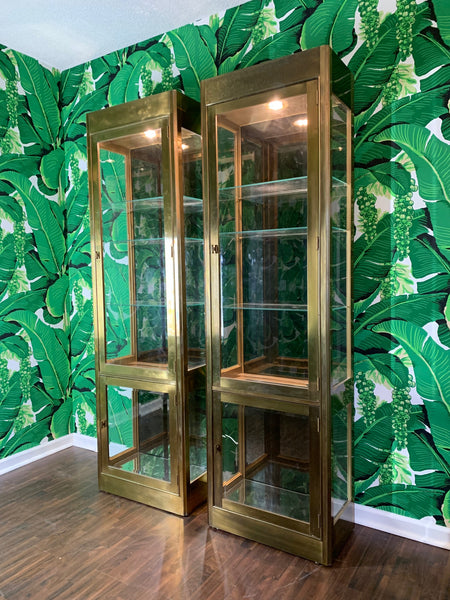 Pair of Mastercraft Brass and Glass Vitrine Display Cabinets front view
