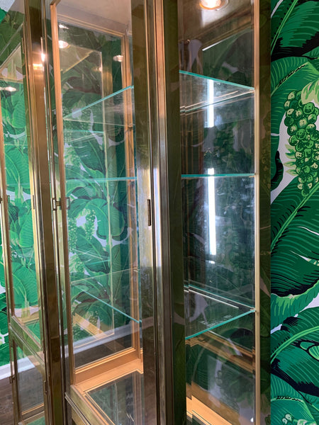Pair of Mastercraft Brass and Glass Vitrine Display Cabinets