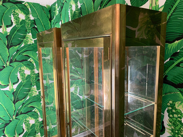 Pair of Mastercraft Brass and Glass Vitrine Display Cabinets side view