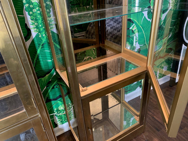 Pair of Mastercraft Brass and Glass Vitrine Display Cabinets close up