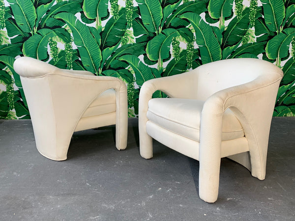 Pair of Vladimir Kagan Sculptural Club Chairs front view