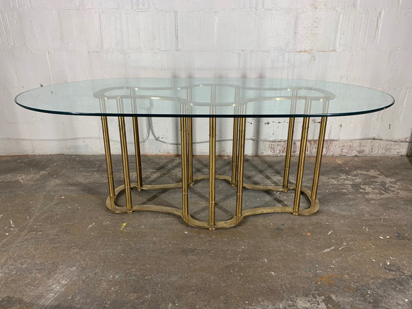 Mastercraft Racetrack Brass Pedestal Dining Table side view