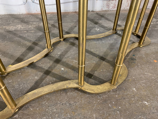 Mastercraft Racetrack Brass Pedestal Dining Table lower view