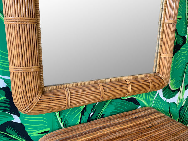 Gabriella Crespi Style Split Reed Rattan Table and Matching Mirror
