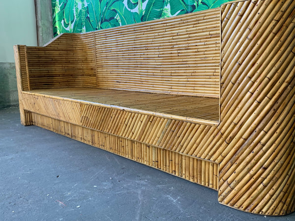 Stacked Bamboo Sofa in the Manner of Gabriella Crespi close up