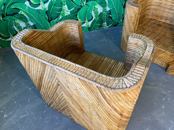 Stacked Bamboo Club Chairs in the Manner of Gabriella Crespi