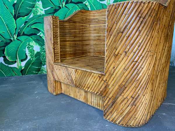 Stacked Bamboo Club Chairs in the Manner of Gabriella Crespi close up