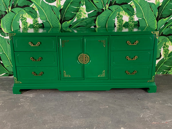 Green Lacquered Asian Chinoiserie Nine Drawer Dresser front view