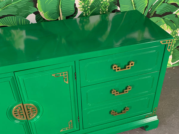 Green Lacquered Asian Chinoiserie Nine Drawer Dresser top view