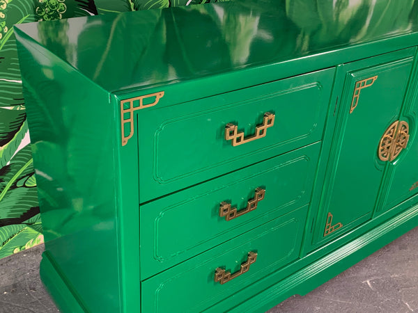 Green Lacquered Asian Chinoiserie Nine Drawer Dresser
