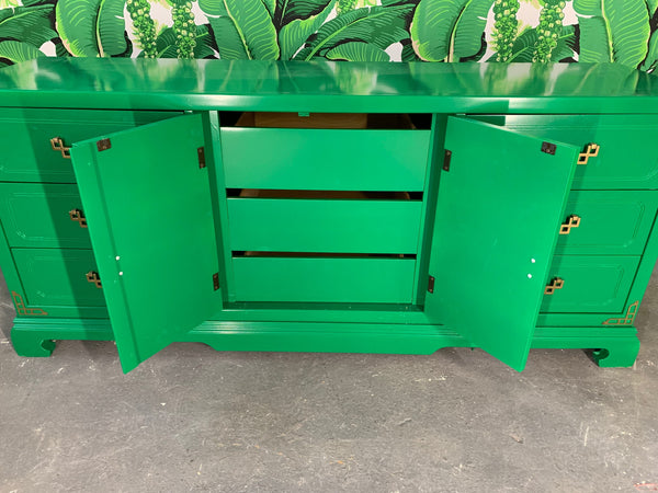 Green Lacquered Asian Chinoiserie Nine Drawer Dresser interior view