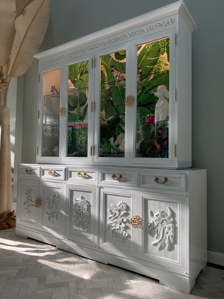 Asian Chinoiserie China Cabinet by Ricardo Lynn side view