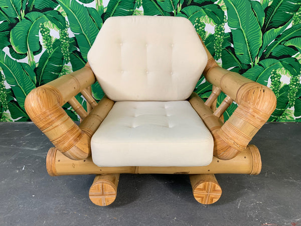 Vintage Bamboo Club Chair front view