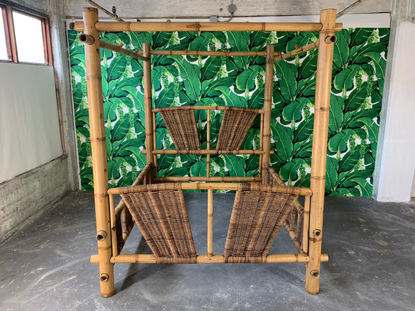 Queen Size Bamboo Canopy Bed front view