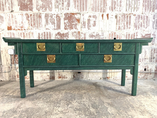 Faux Malachite Asian Console/Altar Table front view