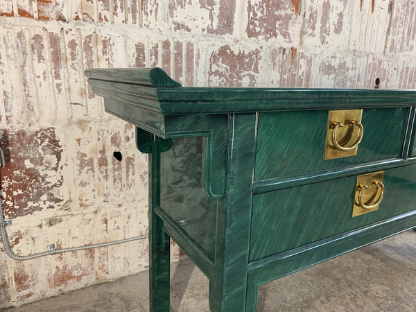 Faux Malachite Asian Console/Altar Table close up