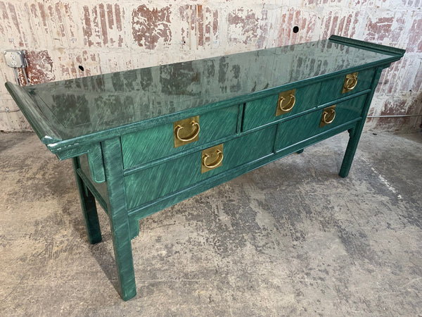 Faux Malachite Asian Console/Altar Table side view