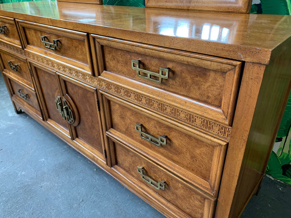 Asian Chinoiserie Burl Dresser Mandarin Collection by Henry Link close up