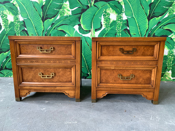 Pair of Burl Nightstands by Henry Link From the Mandarin Collection front view