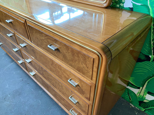 Art Deco Burl Wood Dresser and Mirror by American of Martinsville side view