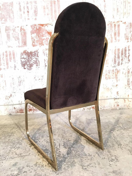 Set of Six Hollywood Regency Velvet and Brass Dining Chairs rear view