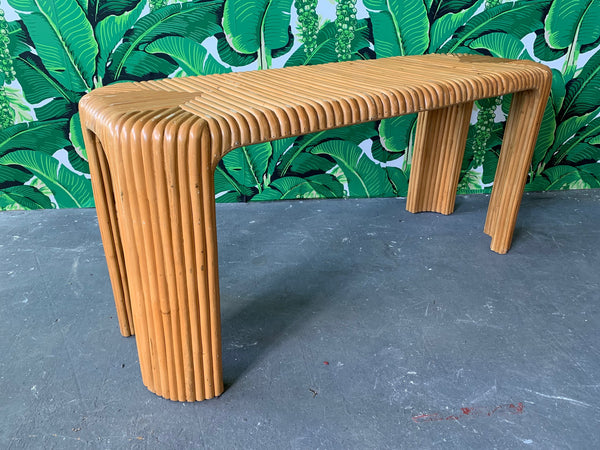 Split Pencil Reed Bamboo Console Table full view
