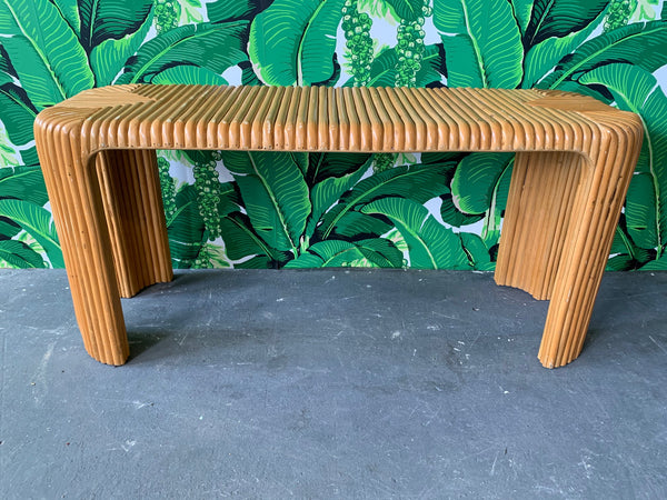 Split Pencil Reed Bamboo Console Table front view