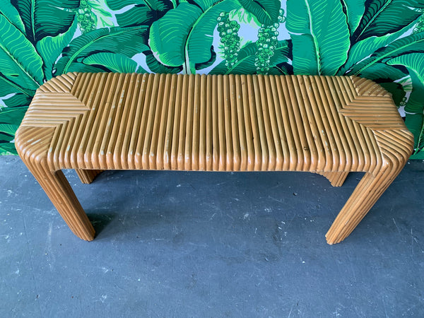 Split Pencil Reed Bamboo Console Table top view