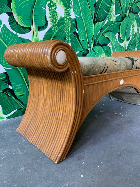 Sculptural Split Reed Bamboo Bench Seat side view