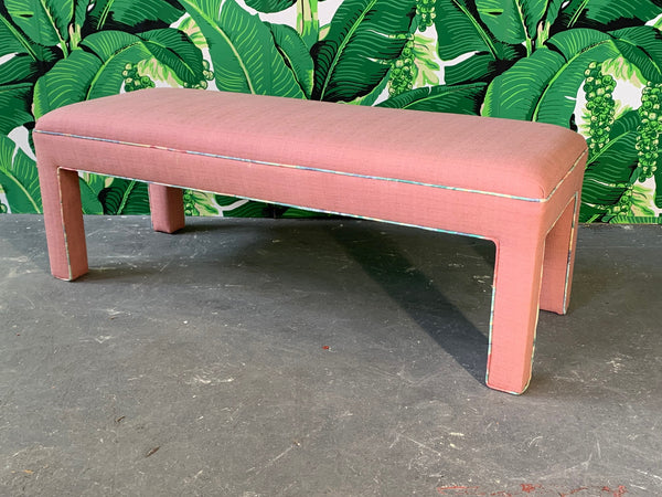 Pink Upholstered Bench Seat Circa 1980s full view