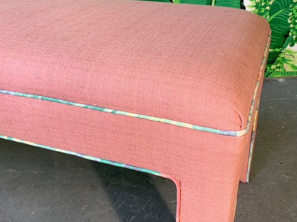 Pink Upholstered Bench Seat Circa 1980s close up