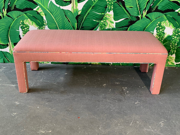 Pink Upholstered Bench Seat Circa 1980s front view