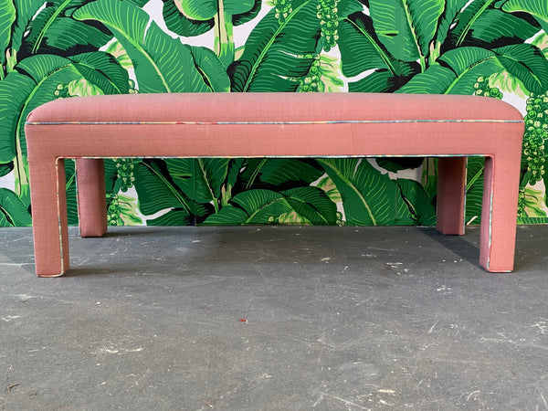 Pink Upholstered Bench Seat Circa 1980s