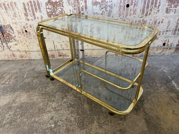 Milo Baughman Style Brass Bar Cart by Design Institute of America front view