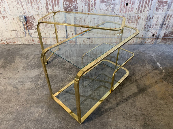 Milo Baughman Style Brass Bar Cart by Design Institute of America open view
