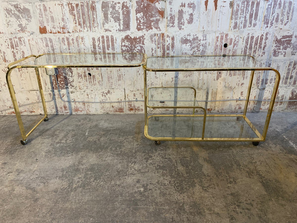 Milo Baughman Style Brass Bar Cart by Design Institute of America full view
