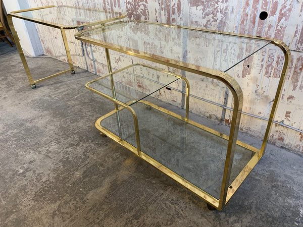 Milo Baughman Style Brass Bar Cart by Design Institute of America