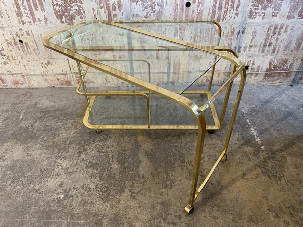 Milo Baughman Style Brass Bar Cart by Design Institute of America rear view