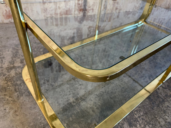Milo Baughman Style Brass Bar Cart by Design Institute of America close up