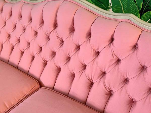 Pair of Pink French Provincial Sofas close up