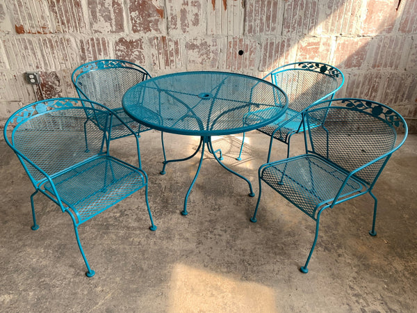 Vintage Wrought Iron Patio Set in the Manner of Russell Woodard front view