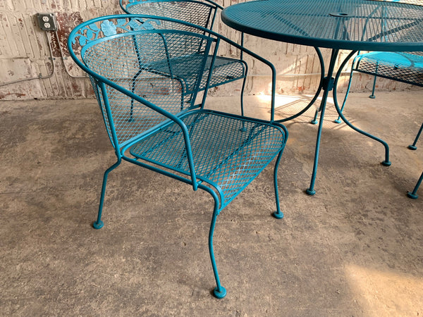 Vintage Wrought Iron Patio Set in the Manner of Russell Woodard side view