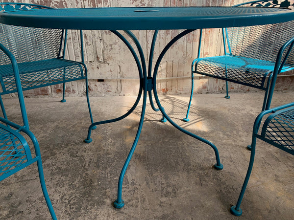 Vintage Wrought Iron Patio Set in the Manner of Russell Woodard close up